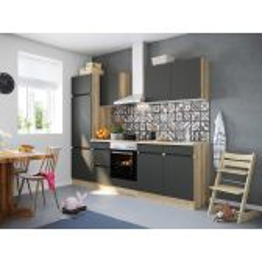 OPTIfit NOAH 2742E keuken met apparatuur - Wild eiken / Antraciet - 270cm