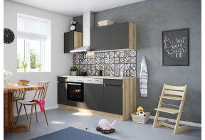 OPTIfit NOAH 213E keuken met apparatuur - Wild eiken / Antraciet - 210cm