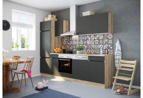 OPTIfit NOAH 2702E keuken met apparatuur - Wild eiken / Antraciet - 270cm