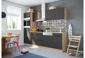 OPTIfit NOAH 2762E keuken met apparatuur - Wild eiken / Antraciet - 270cm