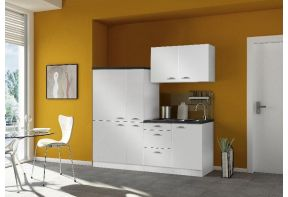 Minikeuken-Klick-190cm-met-inbouwkoelkast-en-apothekerskast-wit