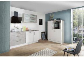 Meister Design-H keuken Beton - dubbel blok - 320cm wit - met koel- en vrieskast in hoekopstelling