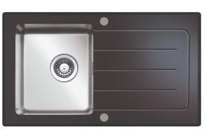 Inbouwspoelbak New York 86x50 cm zwart