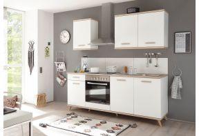 Meister Retro keuken 210 cm in het wit met eiken