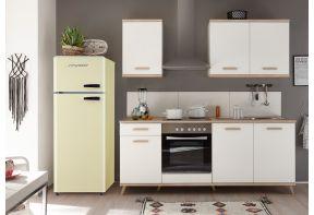 Witte Meister Retro keuken Premium 265cm - met creme kleurige koelkast .