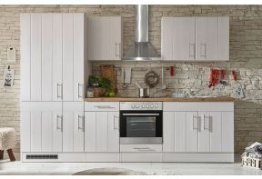 Landelijke keuken Meister in wit met hout werkblad