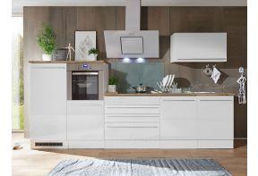 Dubbelblok keuken 320 cm, wit, in rechte opstelling