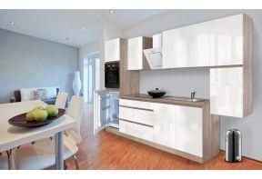 Complete keuken Meister Premium 320cm eiken hoogglans met witte deuren in een appartement