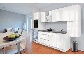 Complete keuken Meister Premium 320cm wit hoogglans met witte hoogglans fronten