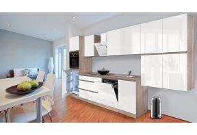 Meister Complete keuken 380cm Eiken Hoogglans met vaatwasser in een eetkamer