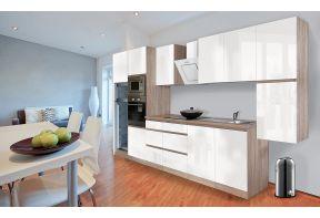 Complete keuken Meister Premium 385cm Eiken hoogglans met witte deuren in een appartement