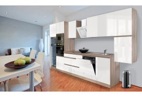 Meister Complete keuken Premium 395cm Eiken hoogglans met Inductie kookplaat in een open keuken