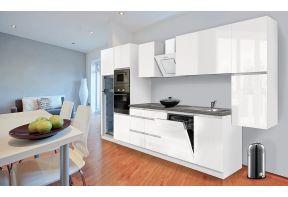 Complete keuken Meister Premium 395cm Wit hoogglans met inbouw apparatuur in een open keuken