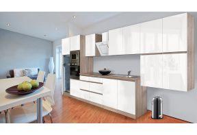 Complete keuken Meister Premium 435cm Eiken hoogglans met witte fronten in een ruime woonkeuken.