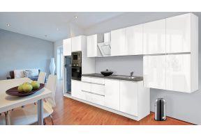 Complete keuken Meister Premium 435cm Wit hoogglans met greeploze deuren in een open keuken.