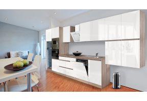 Complete keuken Meister Premium 445cm Eiken hoogglans met greeploze deuren geschikt in een ruime woonkamer