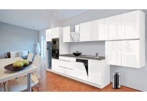 Complete keuken Meister Premium 445cm Wit hoogglans met greeploze deuren