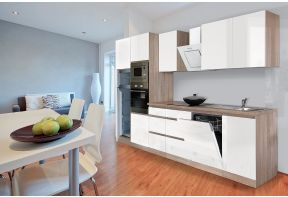 Greeploze eiken/witte keuken inclusief apparatuur.