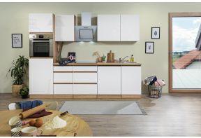 Greeploos eiken keuken met hoogglans fronten van Meister met inductie kookplaat