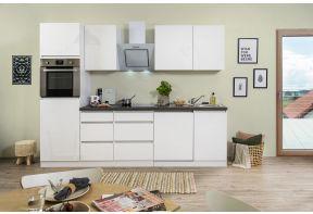 Keuken greeploos in hoogglans wit met inbouwapparatuur