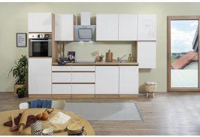 Greeploze keuken Meister in hoogglans wit en eiken 330cm