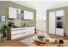 Greeploze hoogglans keuken van Meister in eiken en wit als dubbel blok opgesteld