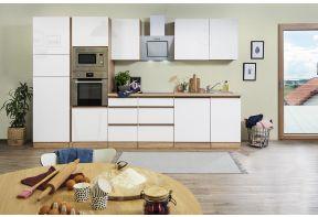 Eiken greeploze keuken met wit hoogglans fronten