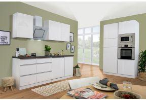 Greeploze keuken in hoogglans wit in 2 blokken opgesteld