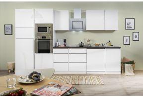 Greeploze hoogglans keuken in het wit met inbouw apparatuur