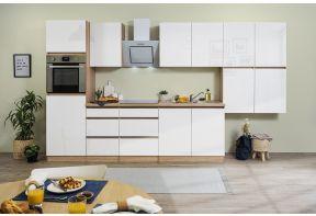 Meister Premium hoogglans keuken in het wit met eiken en greeploze fronten