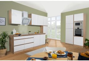 Complete keuken Meister in hoogglans als dubbel blok opgesteld