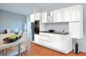 Complete keuken Meister Premium 385cm Wit hoogglans in een kleine woning.