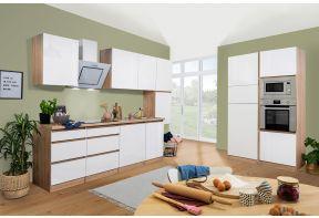 Meister Complete keuken Premium 395cm Eiken hoogglans met Inductie kookplaat als dubbel blok geplaatst