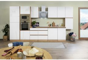 Greeploze hoogglans keuken Meister Premium in wit met eiken