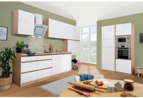 Greeploze keuken Meister Premium Dubbel Blok met hoogglans fronten en eiken aanrechtblad