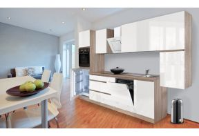 Greeploze keuken Meister 330cm eiken incl. apparatuur wit hoogglans