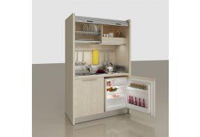 Spazio keuken in een kast met koelkast en rolluik