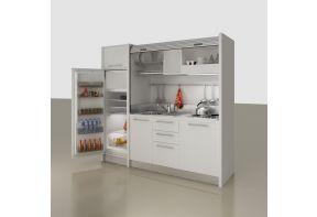 Spazio Mini keuken b222cm Wit met ruime koelkast