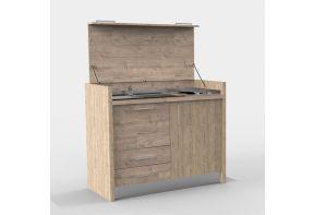 Mini keuken in hout kleuren, af te sluiten met een klep