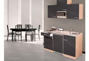 Compacte keuken met magnetron en koelkast