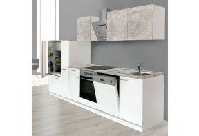 Meister keuken Beton 310cm wit incl. apothekerskast en vaatwasser