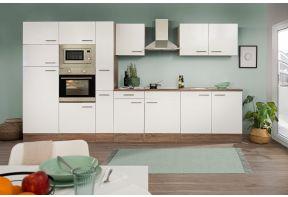 Meister keuken 360 cm met witte fronten en donker houten ombouw.