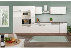 Voorzijde van de zelfbouw keuken Meister New York 370cm incl. apparatuur met witte fronten