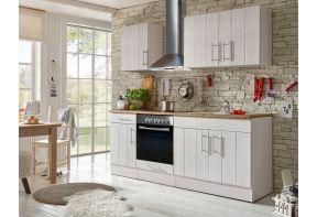 Witte, landelijk keuken met hout werkblad 210 cm