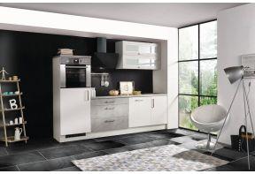 Meister keuken Beton 260cm wit incl. bovenkast en vaatwasser