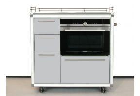 Mobiel keukenblok Pro Art met oven en inductie kookplaat en 4 laden grijs