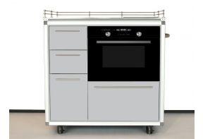 Mobiel keukenblok Pro Art met Exquisit oven en inductie kookplaat en 4 laden grijs