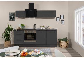 Moderne grijze hoogglans keuken met oven en kookplaat