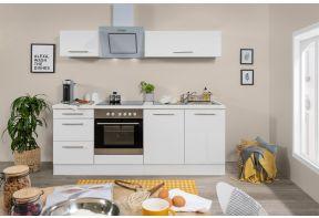 Hoogglans witte keuken met oven en design hangkasten