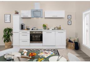 Compleet witte keuken met hoogglans witte fronten, inclusief apparatuur